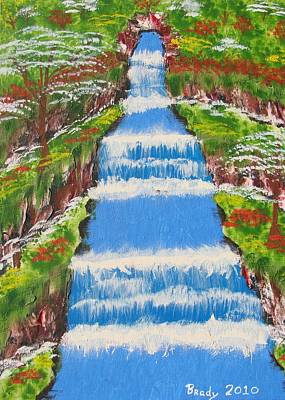 Painting - Tropical Rain Forest Water Fall by Brady Harness