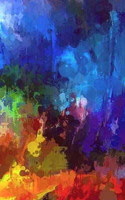 Abstract Digital Color Colorful Expressionism Impressionism Painting - Tropical Rain by Steve K