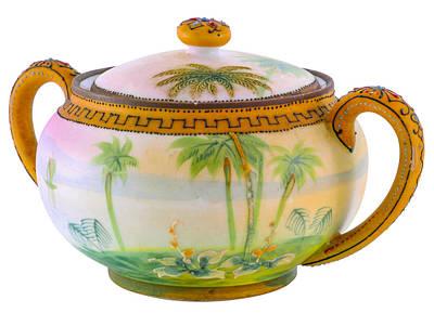 Photograph - Tropical Scene On Two Handled Pot by Lynn Hansen