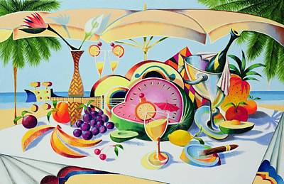 Food And Drink Painting - Tropical Still Life For A Cuban Cubist by Andrew Hewkin