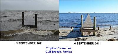 Photograph - Tropical Storm Lee Difference A Day Makes by Jeff at JSJ Photography