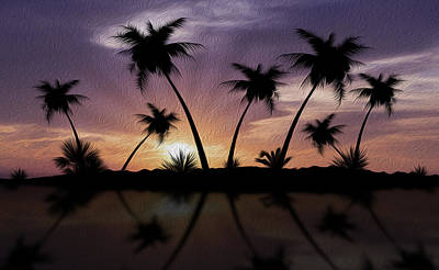 Tropical Sunset Art Print by Aged Pixel