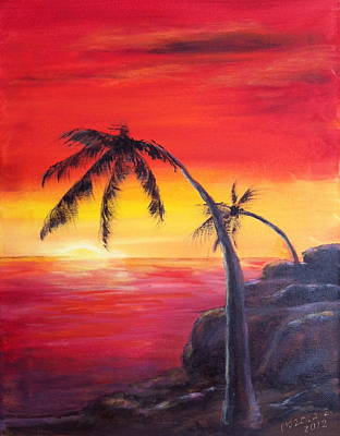 Painting - Tropical Sunset by Bozena Zajaczkowska