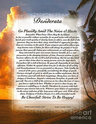 Inspirational Art Mixed Media - Tropical Sunset Desiderata by Desiderata Gallery