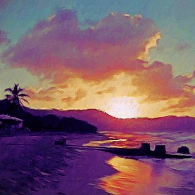 Painting - Tropical Sunset In Purples - Square by Lyn Voytershark