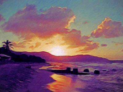 Painting - Tropical Sunset In Purples - Horizontal by Lyn Voytershark