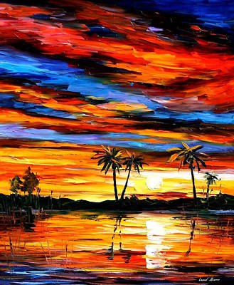 Tropical Sunset - Palette Knife Oil Painting On Canvas By Leonid Afremov Original by Leonid Afremov