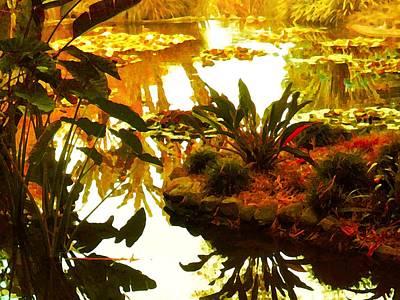 Library Digital Art - Tropical Water Garden by Amy Vangsgard