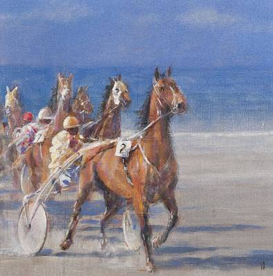 Harness Racing Photograph - Trotting Races, Lancieux, Brittany, 2014 Oil On Canvas by Lincoln Seligman