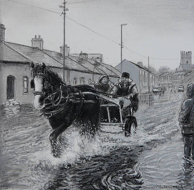 Parish Drawing - Trotting Thro The Floods Limerick 2014 by Tomas OMaoldomhnaigh
