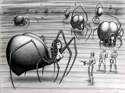 Spider Woman Drawing - Trouble On Planet Arachnia by Arthur Robins