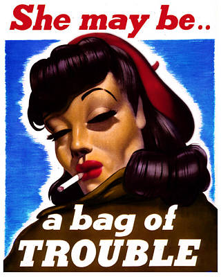Decorating Mixed Media - Trouble Woman Vintage Poster by Tony Rubino