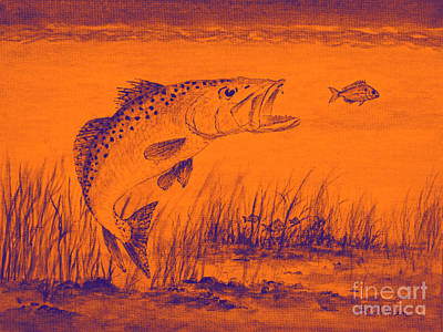 Speckled Trout Painting - Trout Attack 2 In Orange by Bill Holkham