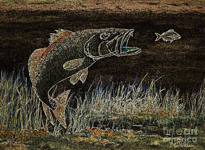 Speckled Trout Painting - Trout Attack 3 In Brown And Gold by Bill Holkham