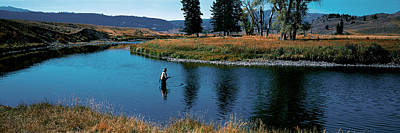 Trout Fisherman Slough Creek Art Print by Panoramic Images