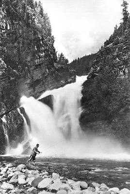 Trout Fishing In Canada Art Print by Underwood Archives