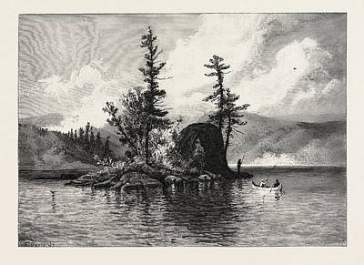 Trout Fishing Drawing - Trout Fishing On Lake Comandeau, Canada by Canadian School