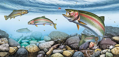 Trout Stream Art Print by JQ Licensing