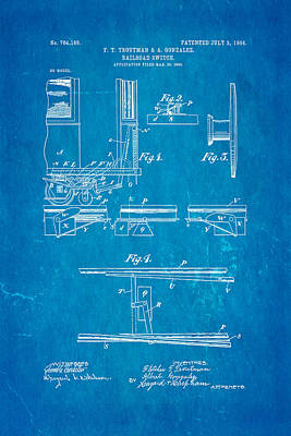 Troutman And Gonzalez Railroad Switch Patent Art 1904 Blueprint Art Print by Ian Monk