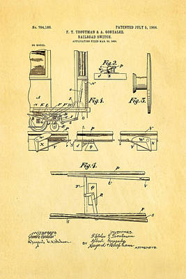 Troutman And Gonzalez Railroad Switch Patent Art 1904 Art Print