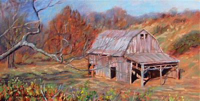 Old Barn Painting - Troutville Barn by Bonnie Mason