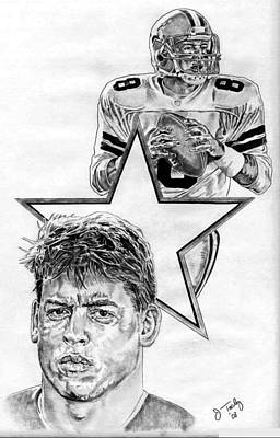 Dallas Cowboys Drawing - Troy Aikman by Jonathan Tooley