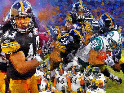Pittsburgh Sports Painting - Troy Polamalu Steeler Nation by John Farr