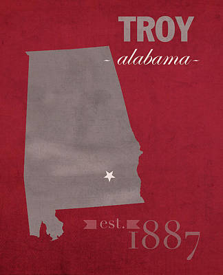 Troy University Trojans Alabama College Town State Map Poster Series No 113 Art Print by Design Turnpike