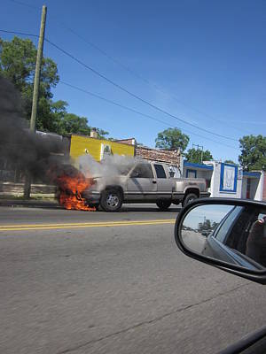 Photograph - Truck Afire by Guy Ricketts