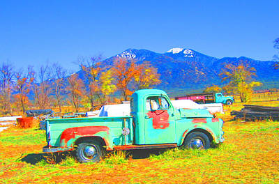 Photograph - Truck And Taos Mountain by Kerry Bennett