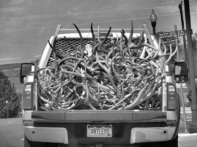 Elk In Velvet Photograph - Truck Full Of Antlers by Dan Sproul