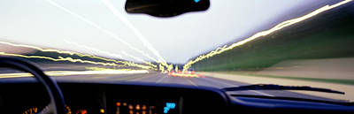 Accelerate Photograph - Truck In Motion From Drivers by Panoramic Images