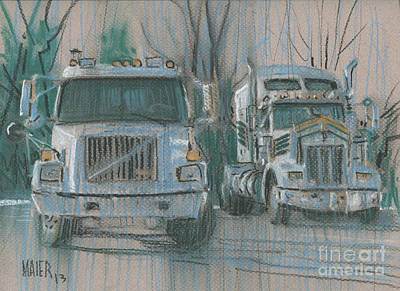 Drawing - Truck Stop by Donald Maier