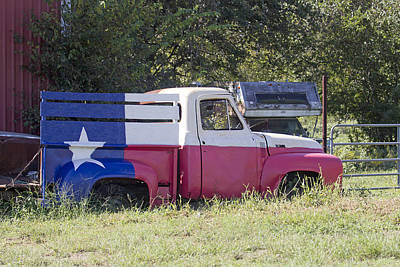 Photograph - Neglected Truck With Texas Flag by Susan Schroeder