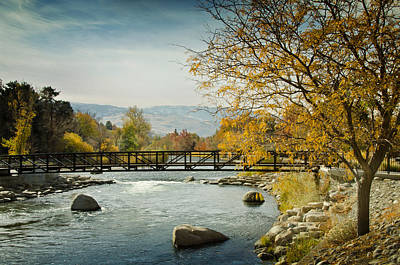 Art Print featuring the photograph Truckee River Downtown Reno Nevada by Janis Knight