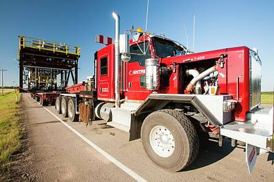 Trucks Haul Load Of Tar Sands Equipment Art Print