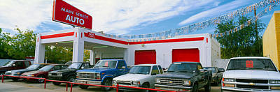 Trucks In Used Car Lot, Roswell, New Art Print by Panoramic Images