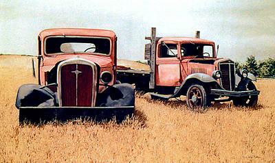 Painting - Trucks by Tom Wooldridge
