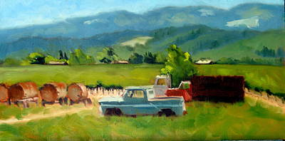 Napa Valley Vineyard Painting - Trucks With A View by Char Wood