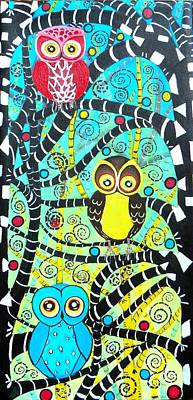 Painting - Trudys Owls by Shirley Smith