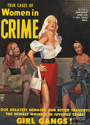Nineteen-fifties Drawing - True Cases Of Women In Crime 1950 by The Advertising Archives