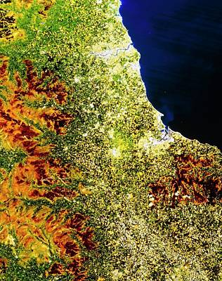 True-colour Satellite Image Of North-east England Art Print
