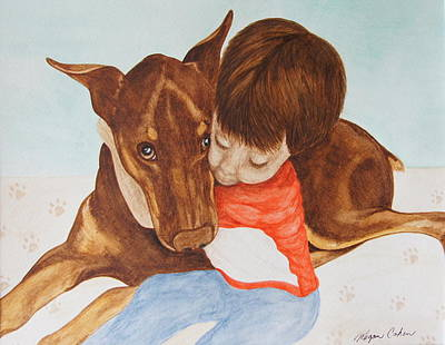 Wall Art - Painting - Doberman's True Love by Megan Cohen