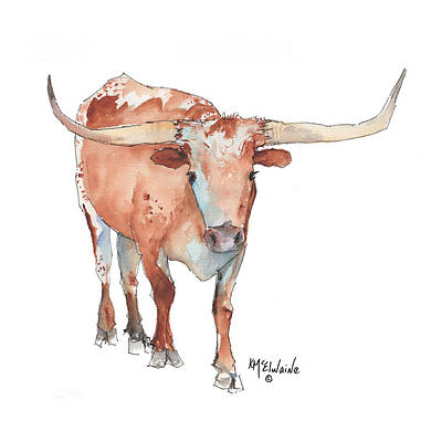 Square Walking Tall Texas Longhorn Watercolor Painting By Kmcelwaine Art Print by Kathleen McElwaine