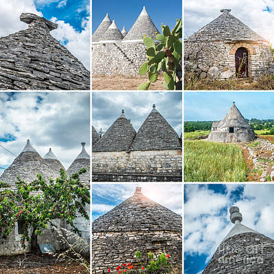Alberobello Photograph - Trulli Collage by Sabino Parente