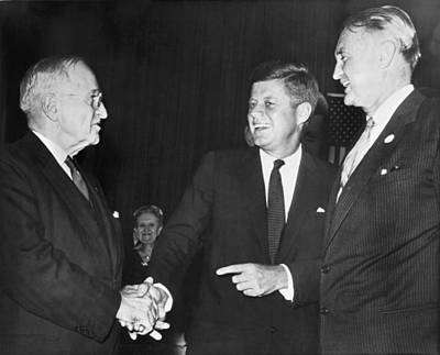 Photograph - Truman, Kennedy, And Symington by Underwood Archives