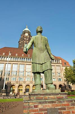 Dresden Photograph - Trummerfrauen Statue At The New Town by Michael Defreitas