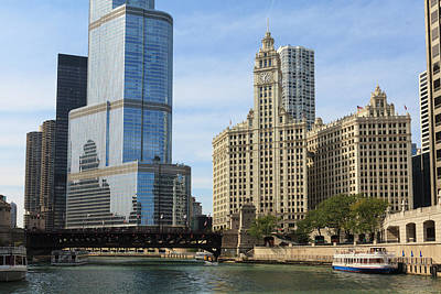 Chicago Photograph - Trump Tower And The Wrigley Building By by Amanda Hall / Robertharding
