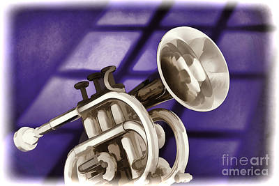 Painting - Trumpet Cornet Painting In Colors Purple Blue 3149.02 by M K Miller