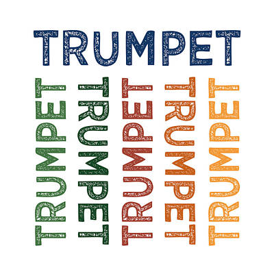 Trumpet Digital Art - Trumpet Cute Colorful by Flo Karp